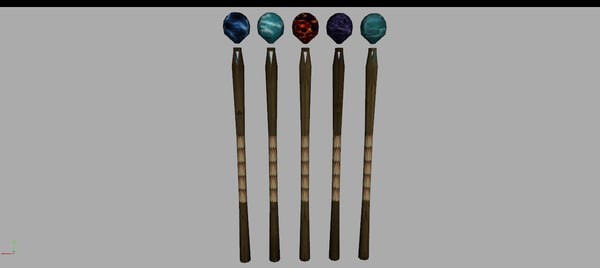 3D magic staff set model