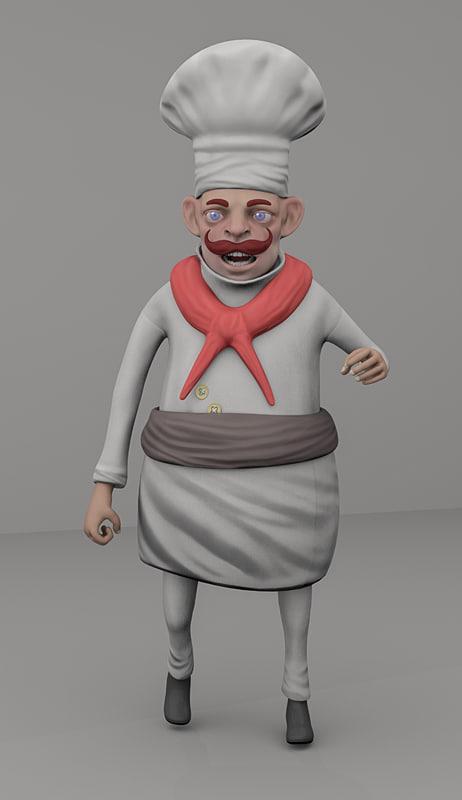 chef cartoon rigging 3D model