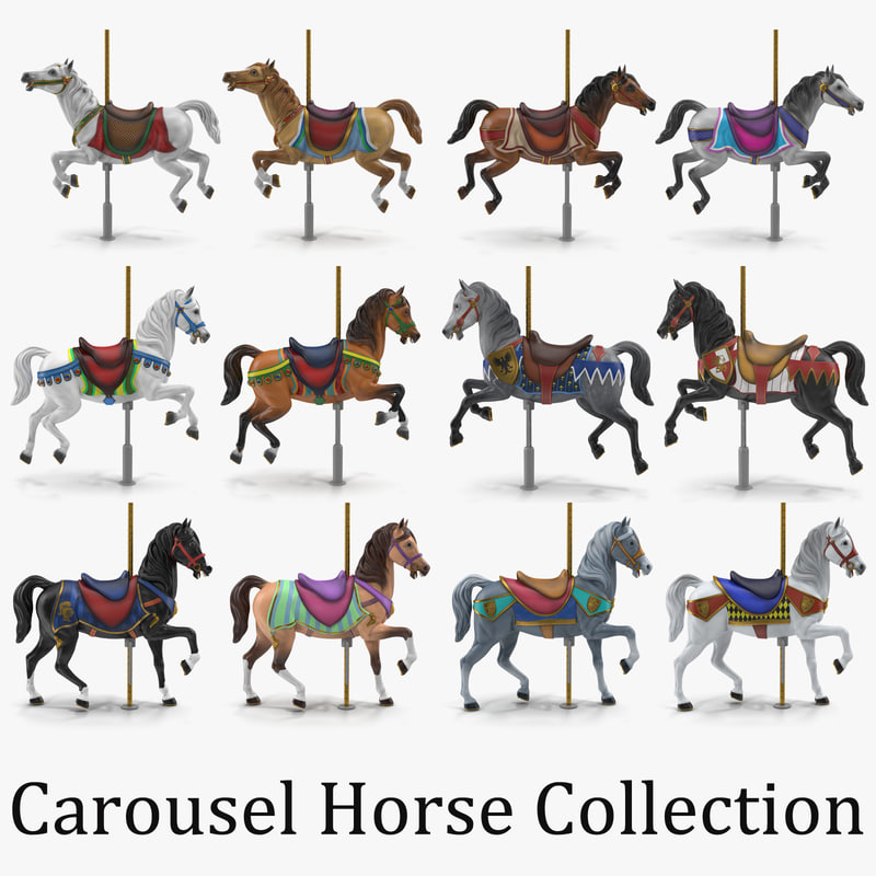 carousel horses 3d model collection turbosquid