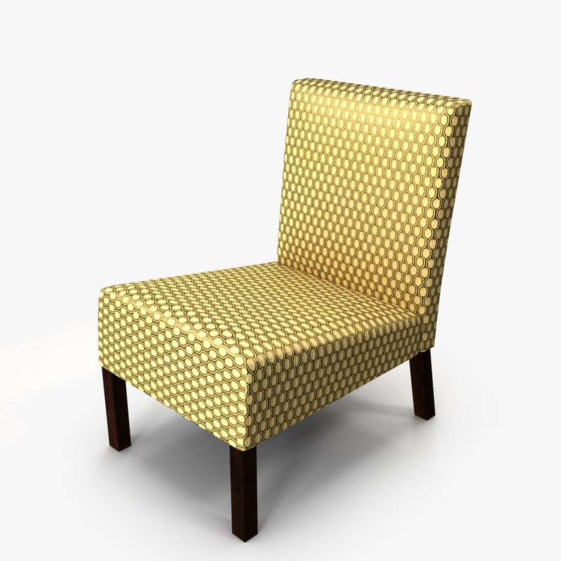 3D model armless accent chair