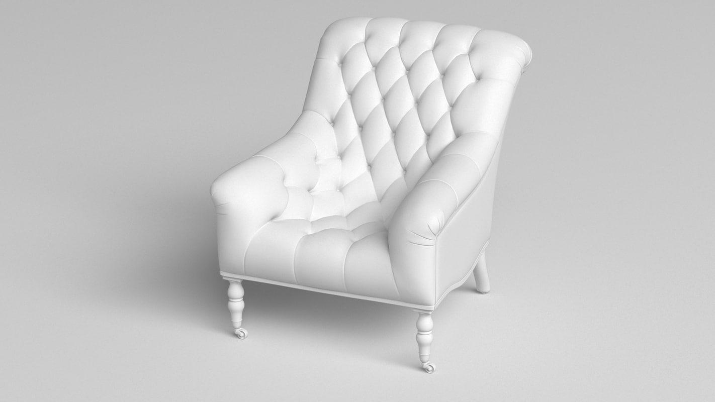 3D mayfair tufted armchair
