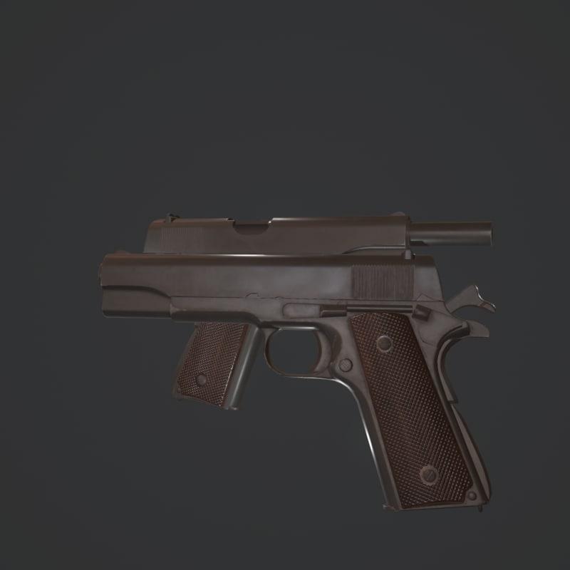 3D colt a1 pistol 1911 45 model