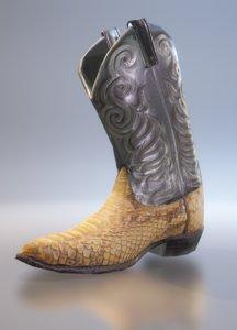 crocodile cowboy boots 3D model