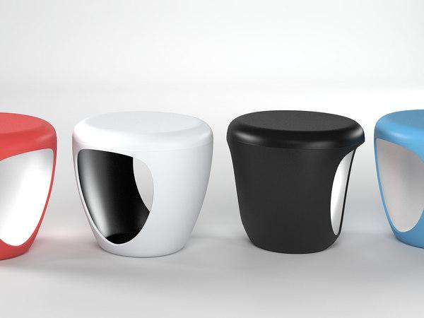 3D pebble pouf model