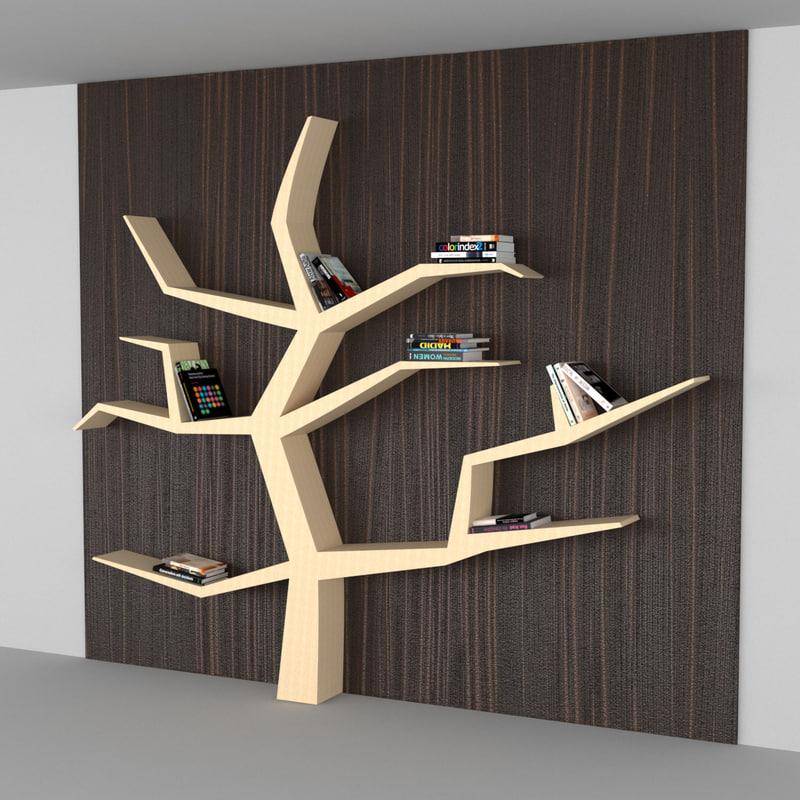 3D modern book shelf model