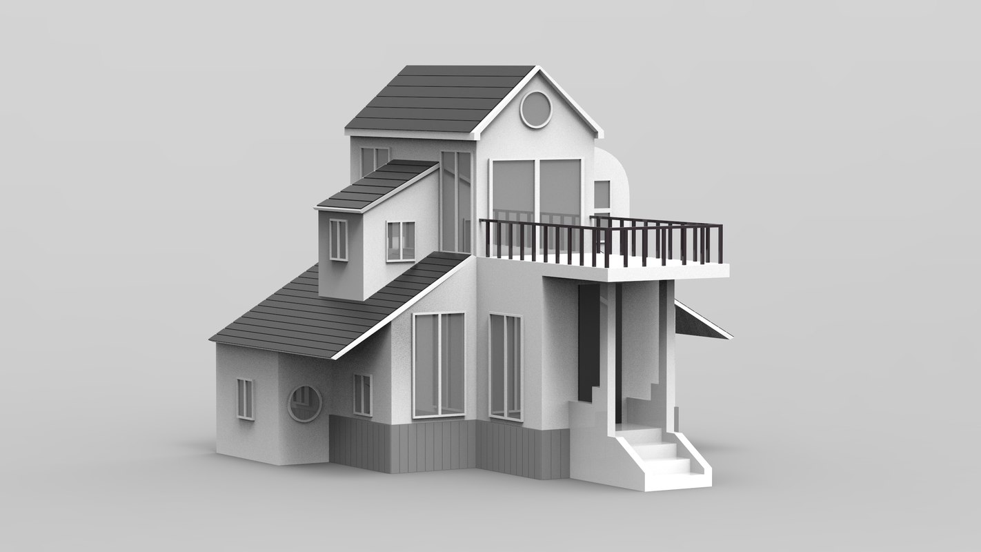 3D villa duplex balcony house model