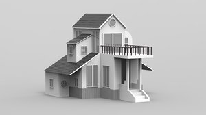 3D villa duplex balcony house model