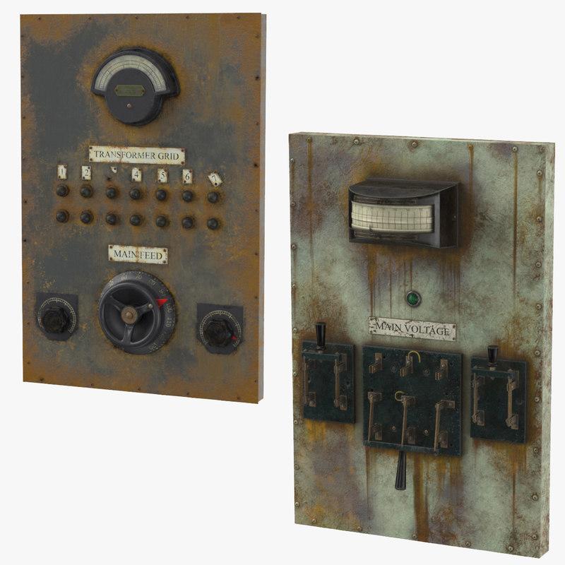 3D panels gauges levers