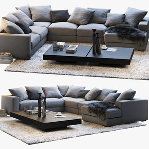 boconcept cenova sofa coffee tables 3D