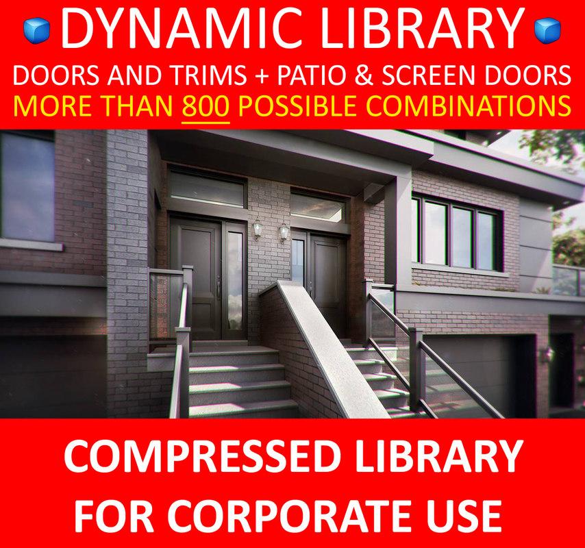 3D exterior doors dynamic library model