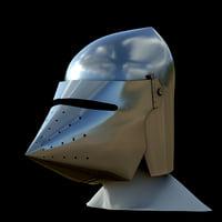 medieval knight bascinet helmet visor 3D