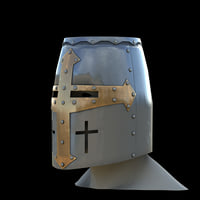 medieval knight tamplier crusader helmet model