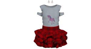 3D girl skirt t model