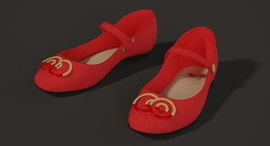 realistic girl shoes 3D model