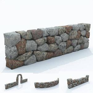 3D model stone wall
