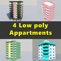 Apartment Buildings Low Poly Collection