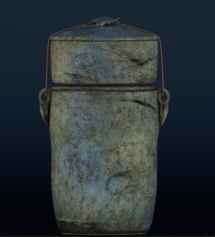 antique raku ceramic urn 3D model