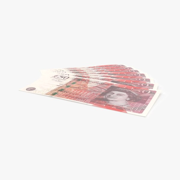50-pound-note---fanned 3D model