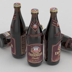 3D beer bottle dunkel