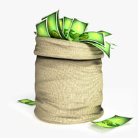 3D cartoon money bag model
