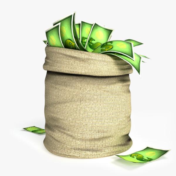 3D cartoon money bag model