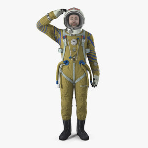 ussr astronaut wearing space suit 3D