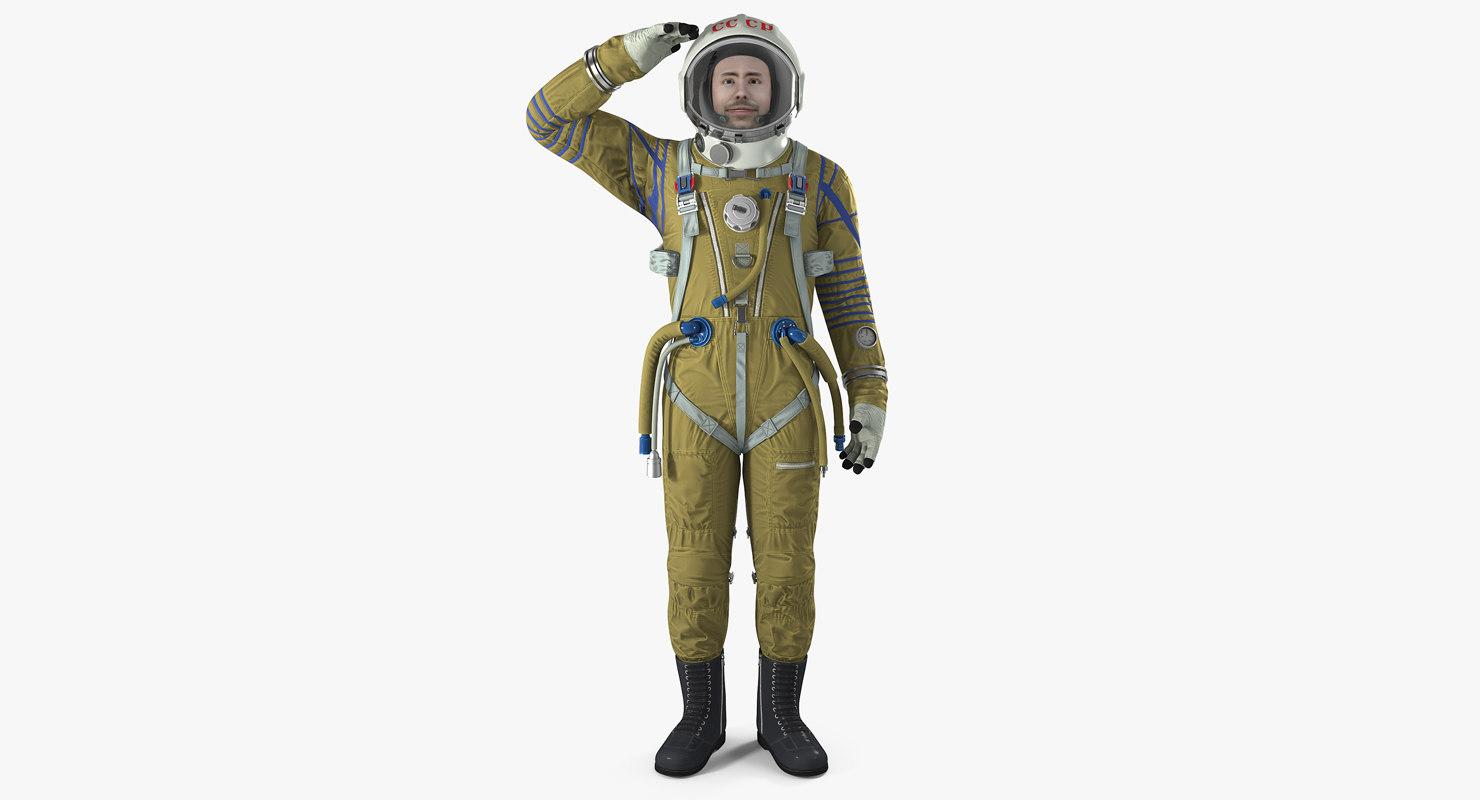ussr astronaut wearing space suit 3D