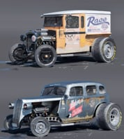 3D old dragsters