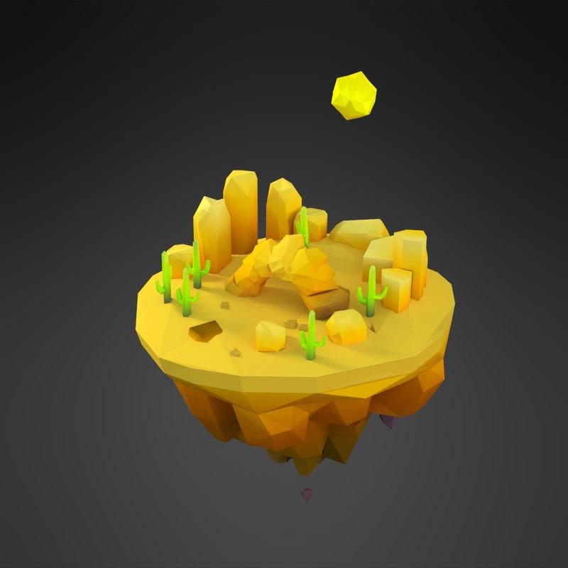 cartoon desert island 3D
