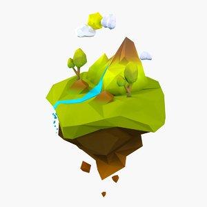 cartoon forest island 3D model