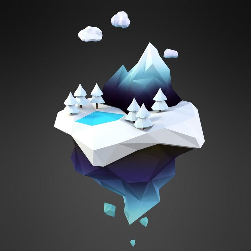 3D cartoon snow island