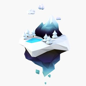 3D cartoon snow island