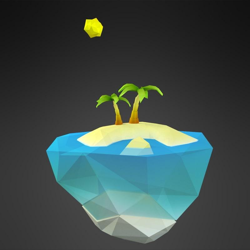 3D cartoon tropic island model