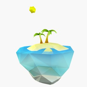 3D cartoon tropic island model