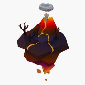 cartoon volkano island 3D