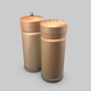 3D wooden salt pepper shaker
