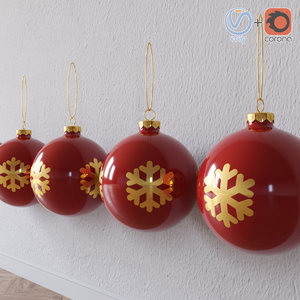 christmas toy ball snow flake 3D model