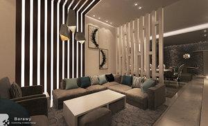 3D contemporary reception living room