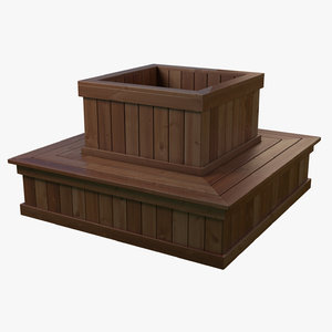 3D planter bench model