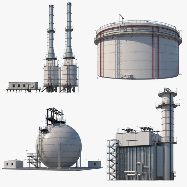 3D model factory refinery modules