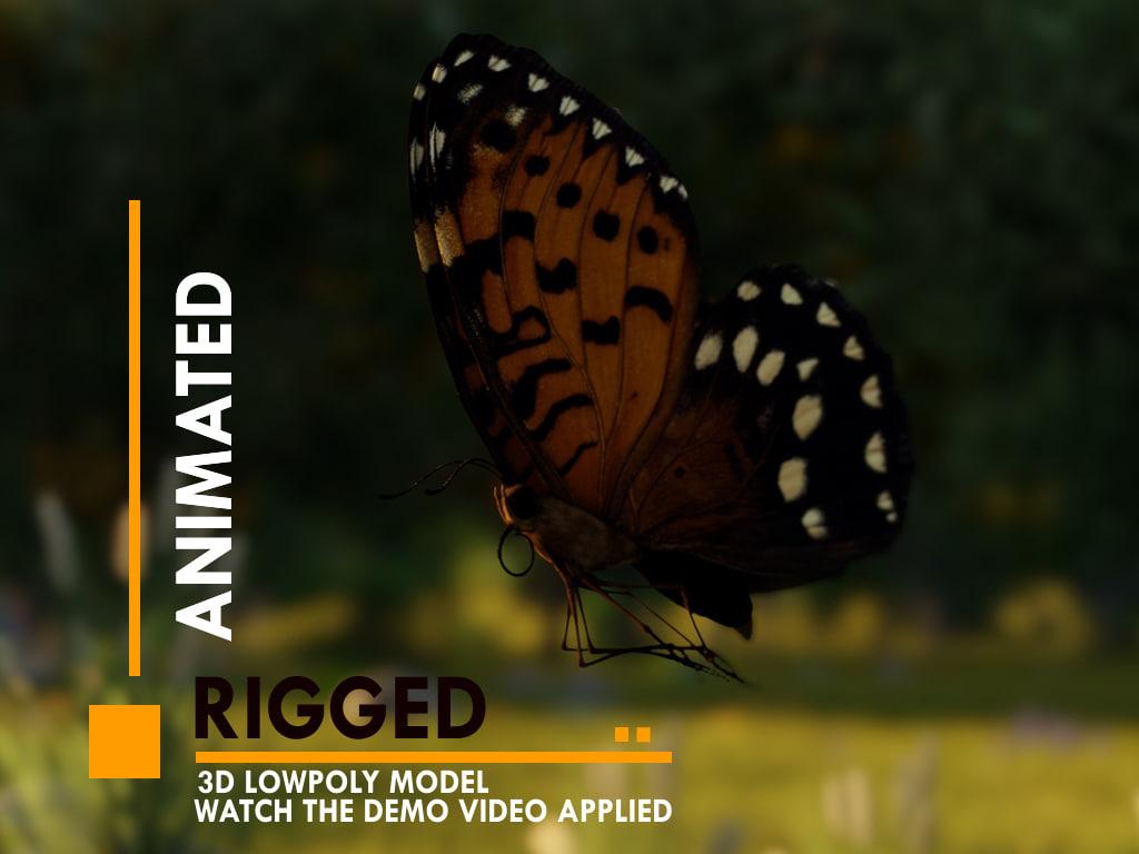 3D butterfly flying