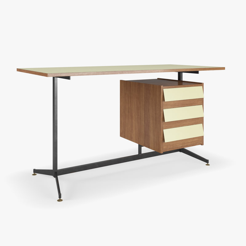 3D mid-century writing desk formica