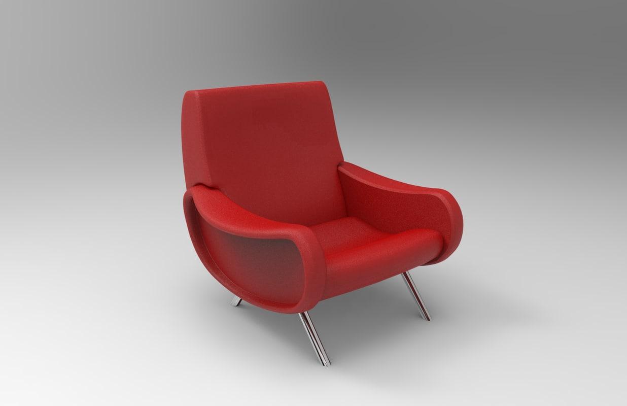 Marco zanuso lady chair design 3D model - TurboSquid 1174197