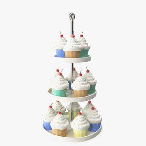 3D model cupcakes etagere
