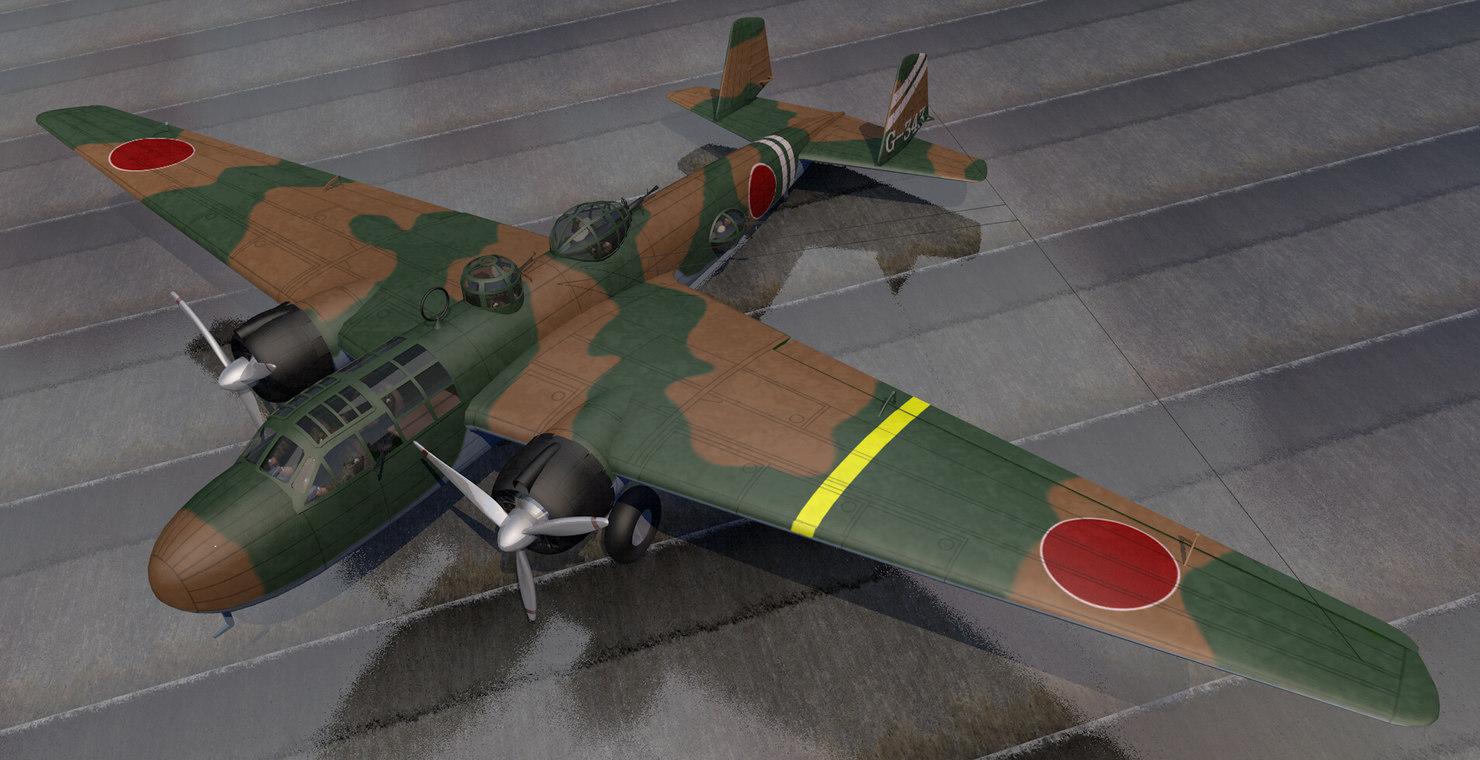 plane mitsubishi g3m2 nell 3D model