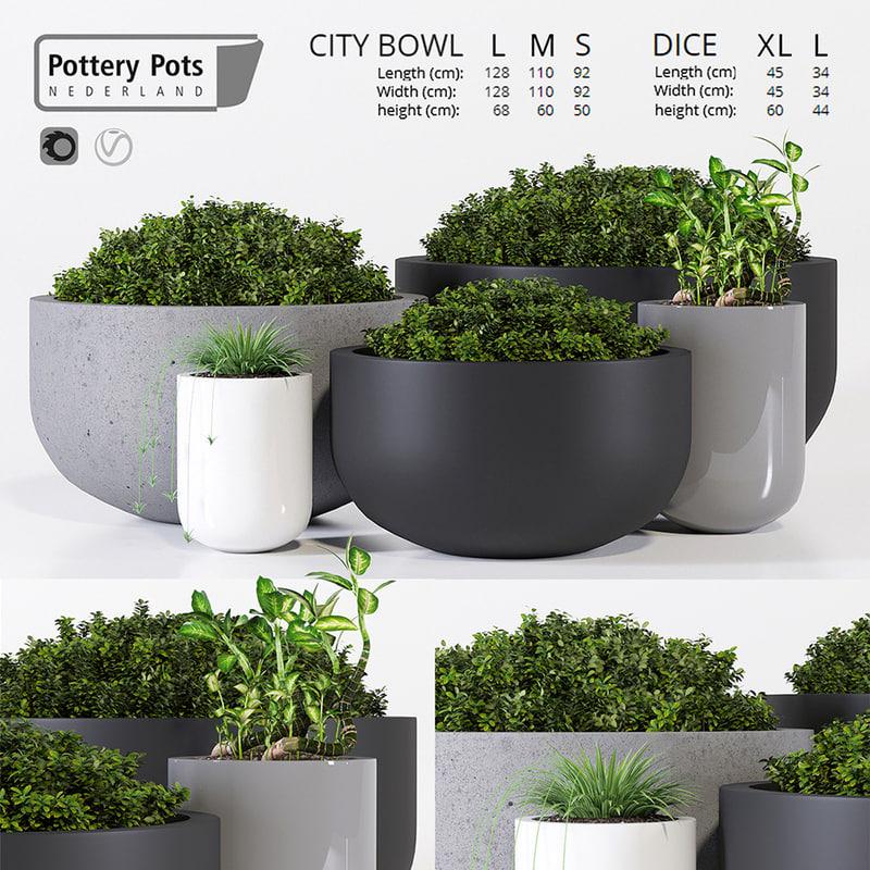 outdoor pots pottery 3D