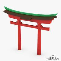 3D model japan gate
