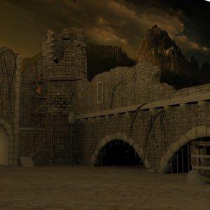 3D old castle ruins