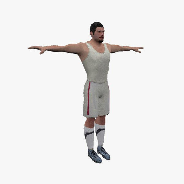 3D realistic basketball player ready