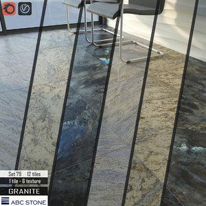 3D tile abc stone set model